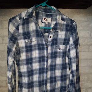 SO Blue & White Plaid Flannel Shirt